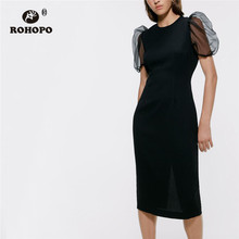 ROHOPO Tulle Puff Sleeve Round Collar Back Hem Slip Bodycon Black Midi Dress Ladies Elegant Slim Party Solid Robe #9352 petal puff sleeve curved hem dress