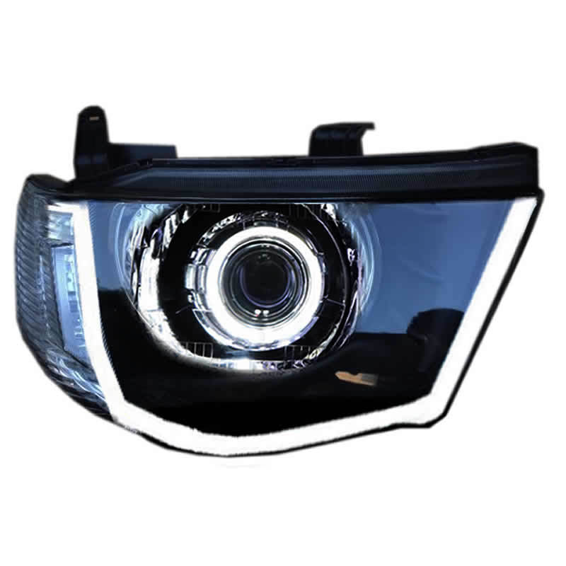 Headlight Assembly For Mitsubishi L200 Angel Eye Turn Signal Bi-lens HID Bulbs With 65W Ballast, Left And Right