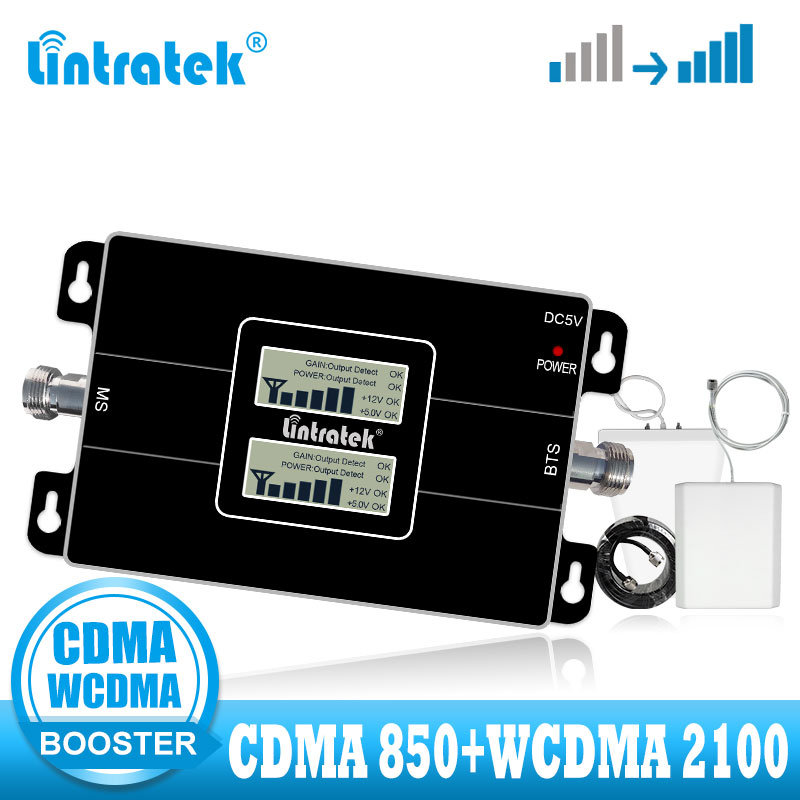 Lintratek CDMA WCDMA Signal Booster 850 3G UMTS 2100 Signal Repeater Voice And Communicaiton Amplifier 850mhz 2100mhz 2g 3g Kit