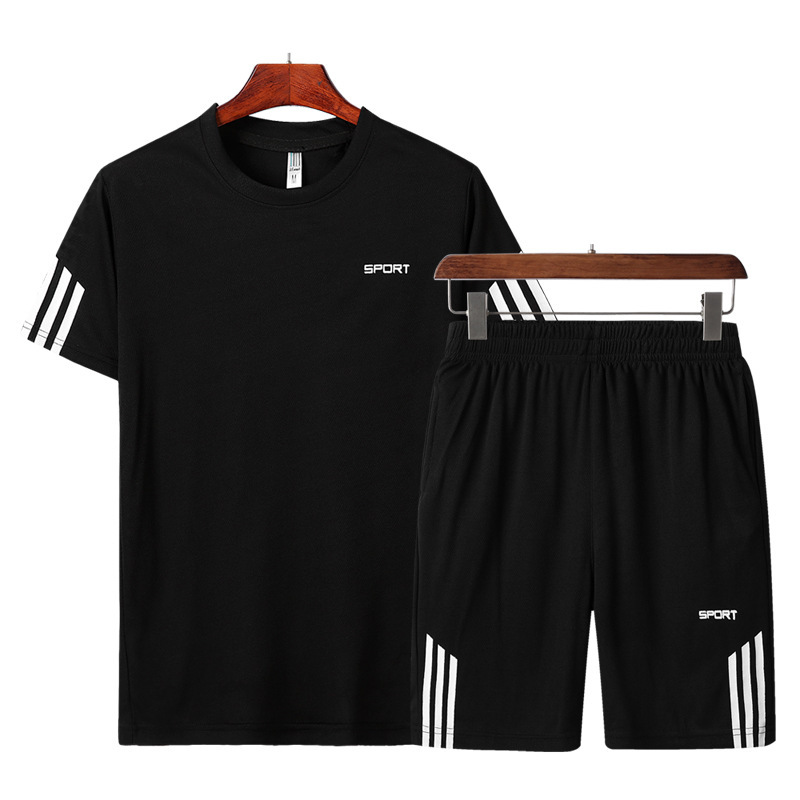 Summer New Style Men Crew Neck Printed Stripe Short Sleeve Set Large Size Quick-Dry Leisure Sports Suit