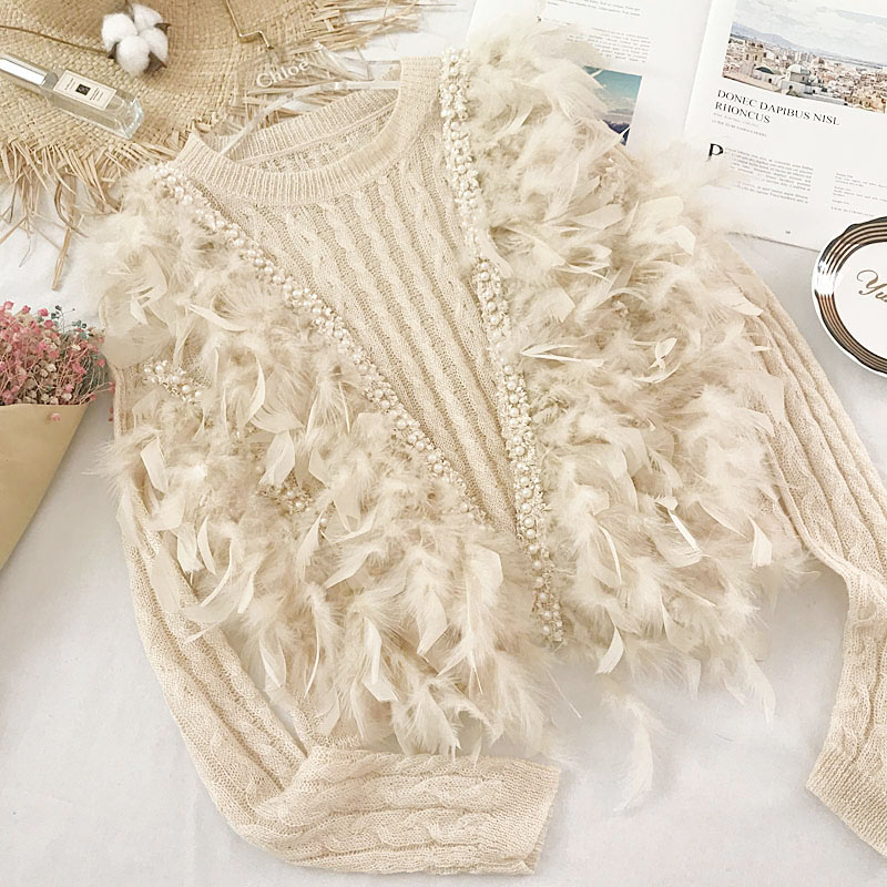 Sweater Feather Patch Knitted Women PulloverD Sweater Pearls Female 2020 Spring Sweater O-neck Casual Ladies Jumper SA355S30