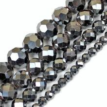 Perline di pietra di ematite nera sfaccettata naturale 2 3 4 6 8 10MM 15
