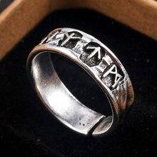Moda Punk Style Antique Retro biżuteria męska Viking pierścień kobieta czarny Amulet Vintage Norse Rune pierścienie dla kobiet mężczyzn