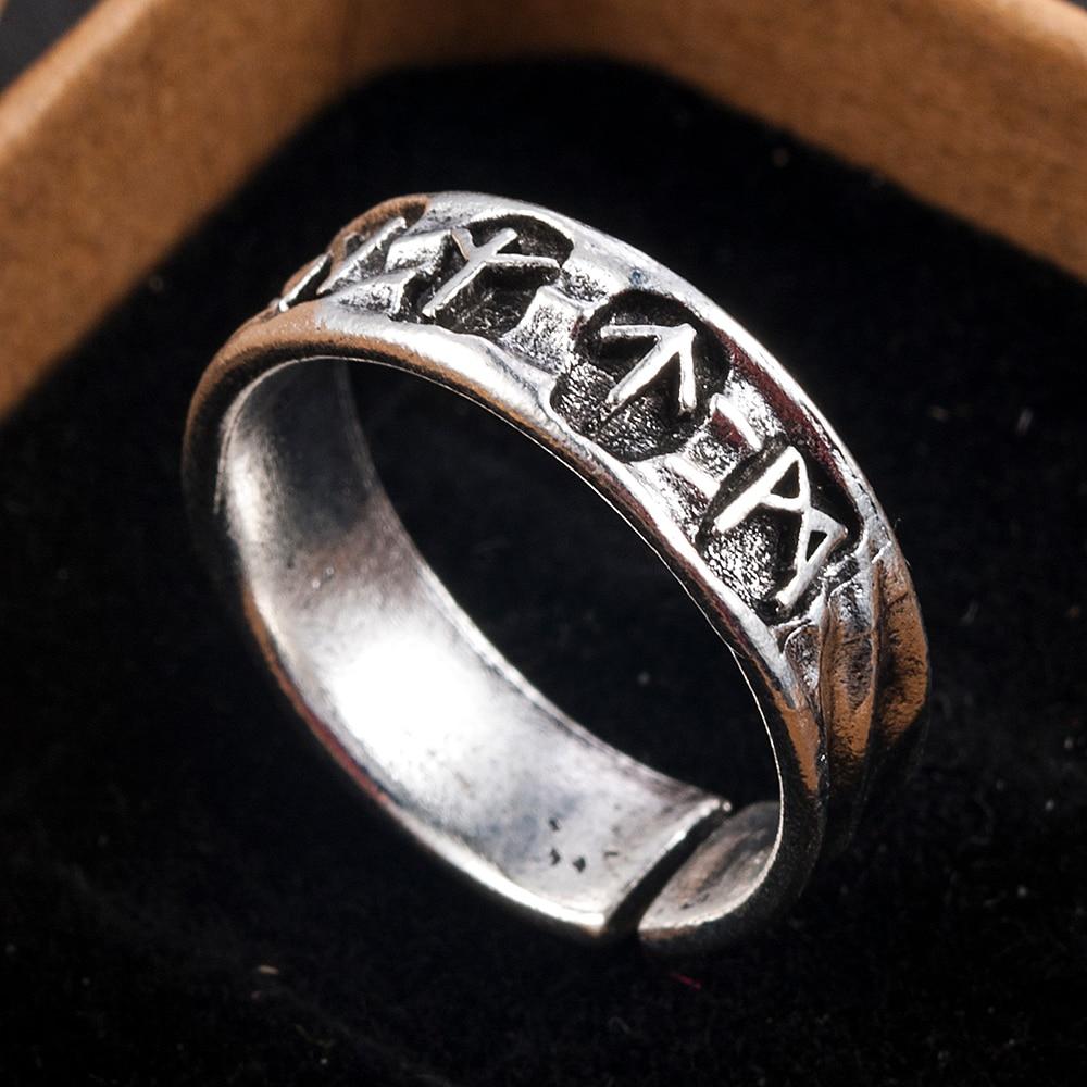 Punk Fashion Style Antique Retro Male Jewelry Viking Ring Female Black Amulet Vintage Norse Rune Rings For Women Men