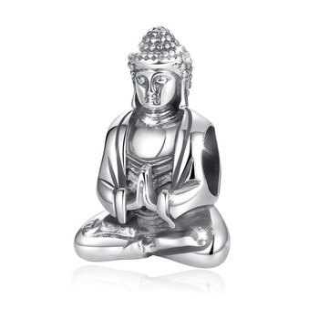 Eudora  Figure of the Buddha Metal Beads for Women Jewelry Making 925 Sterling Silver good luck Charms Fit for Silver Bracelet eudora 925 sterling silver vintage dream catcher charms