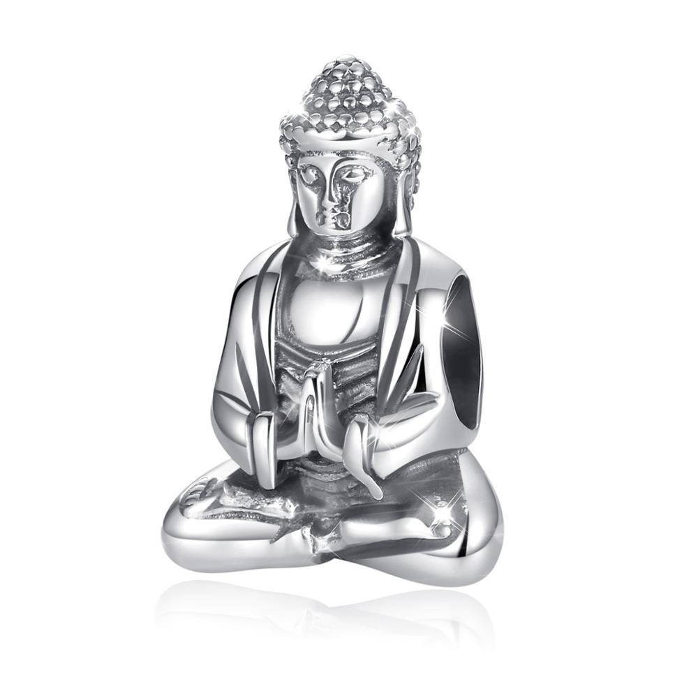 Figura do Buda de Metal Femininas de Prata Eudora Jóias Esterlina Sorte Encantos Pulseira 925 Boa