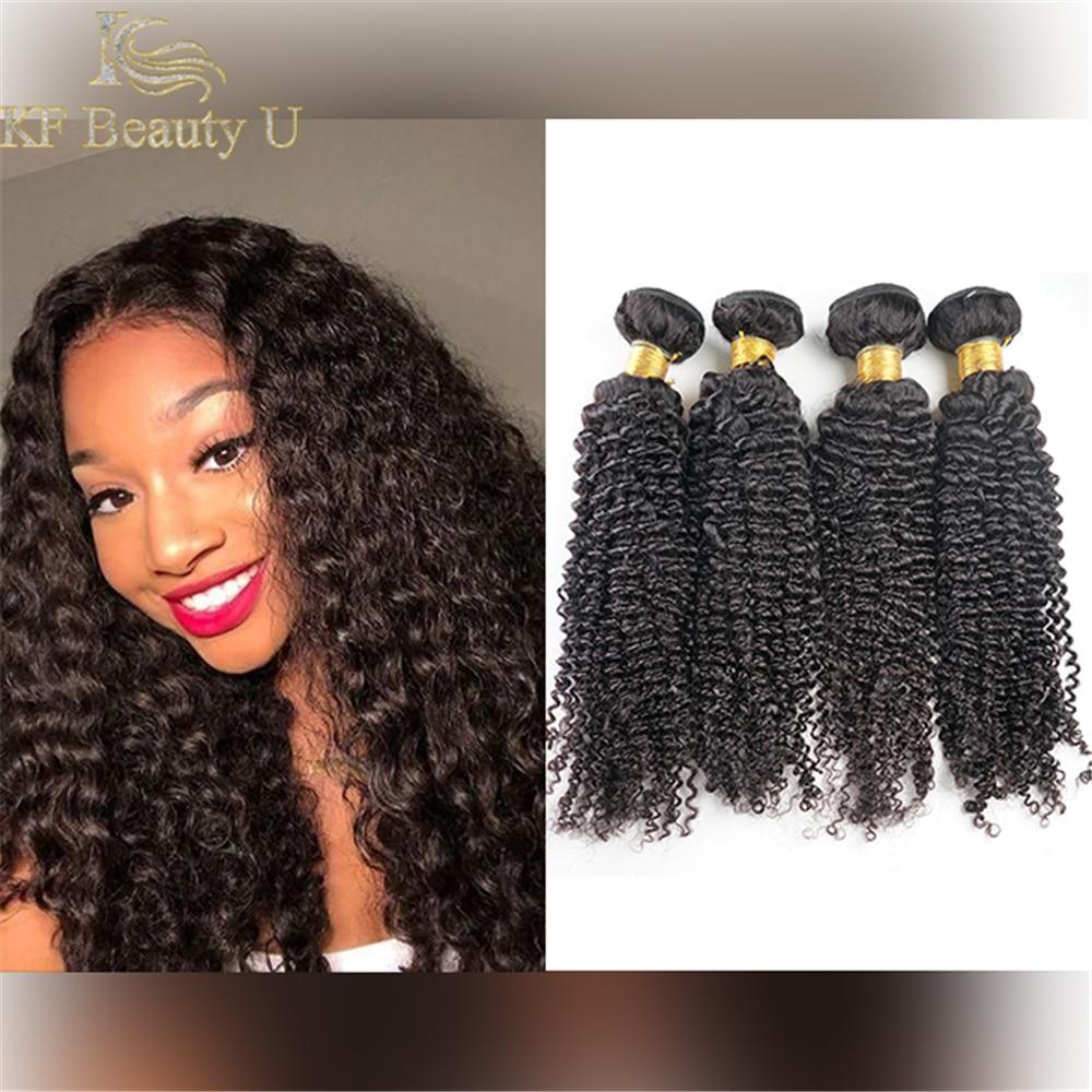 Fasci di capelli umani ricci crespi colore naturale Remy malese cucire nelle estensioni dei capelli 3/4 pezzi tessuto dei capelli per le donne