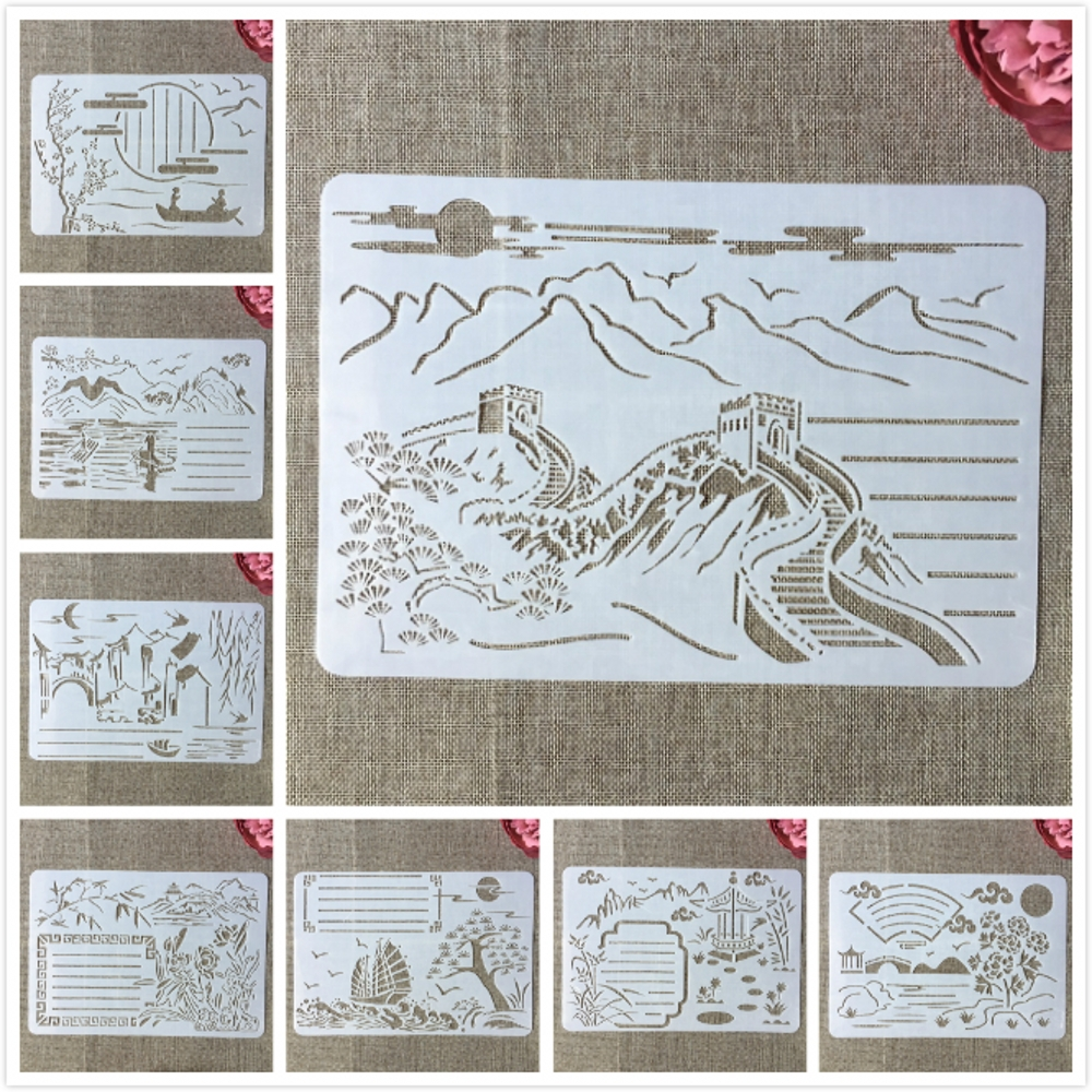 8Pcs 29cm Chinese Traditional The Great Wall DIY Layering Stencils Painting Scrapbook Coloring Embossing Album Decor Template