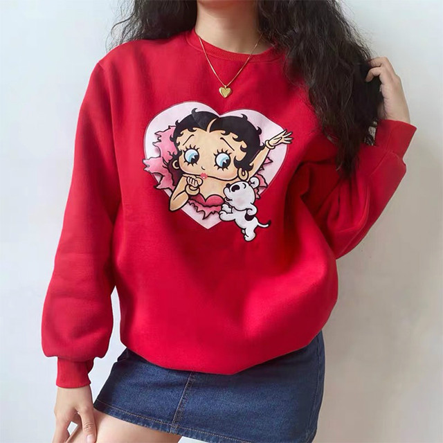 Red Hoodie with Vintage Cartoon Print for woman