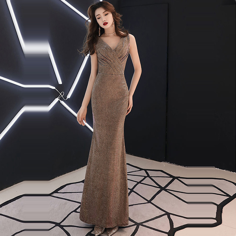 Evening     Dress   Solid Pleat Women Party   Dresses   Sequin Zipper Robe De Soiree 2019 V-neck Sleeveless Elegant Formal Gowns F199