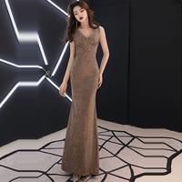 Evening Dress Solid Pleat Women Party Dresses Sequin Zipper Robe De Soiree 2019 V neck Sleeveless Elegant Formal Gowns F199