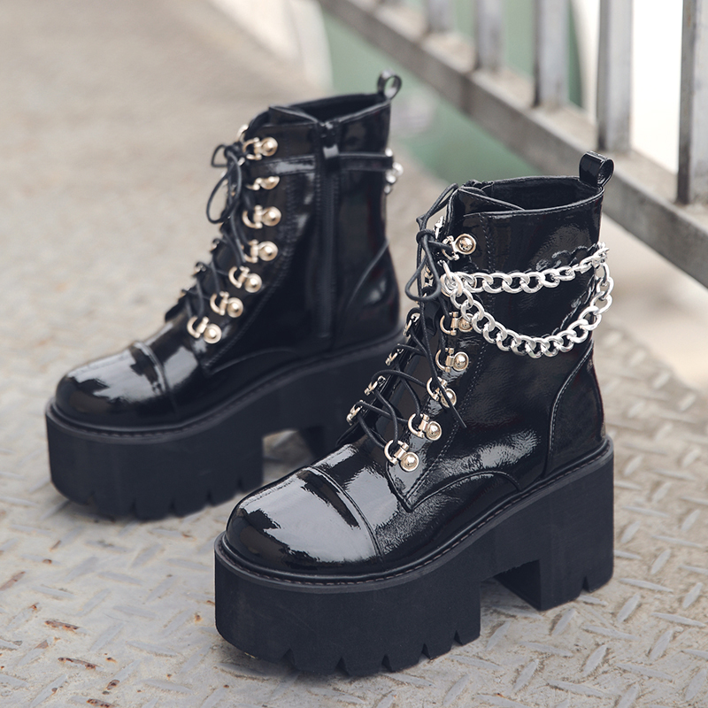 Women Gothic Ankle Boots Zip Punk Style Platform Shoes Goth Winter Lace up Booties Chunky Heel Sexy Chain 2020 Dropshipping