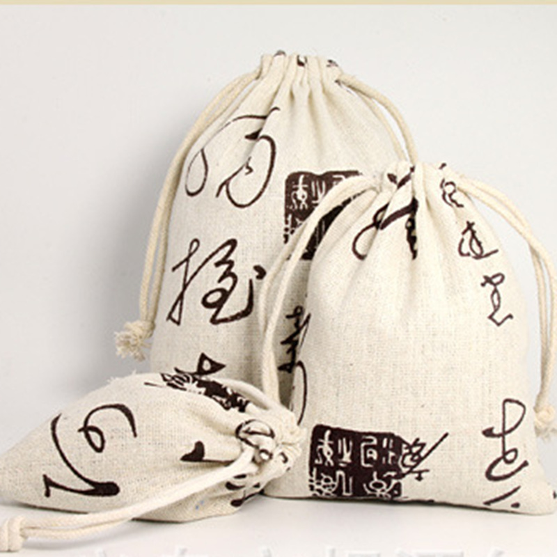 20pcs 10x13cm Chinese Style Cotton Linen Drawstring Bags Pouches Candy Jewely Package Bag Party Wedding Gift Decoration