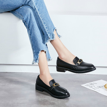 2019 New Women Flat Shoes Round Toe Lace-Up Oxford Shoes Woman Genuine Leather Brogue Women Platform Shoes Women Loafers 1