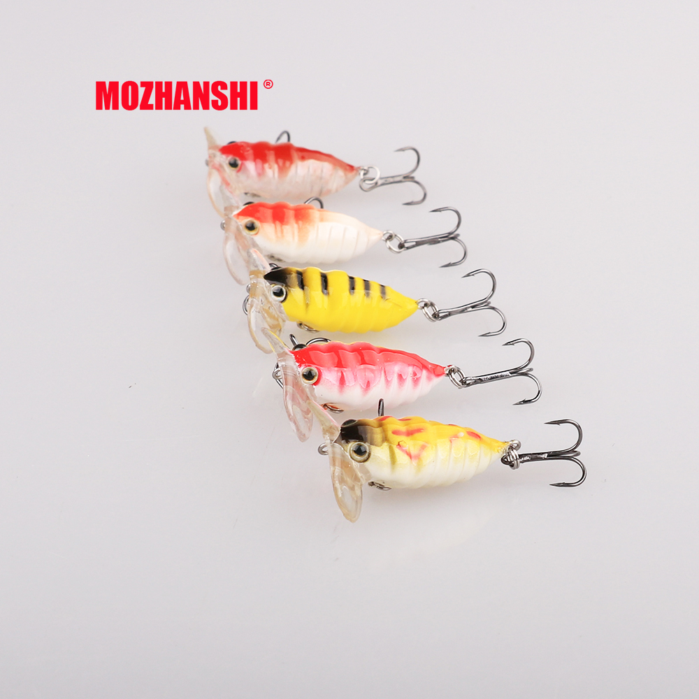 MOZHANSHI 5pcs Cicada Fishing Lure Hard Plastic Artificial Bait 3D Eyes 3.8cm 4.2g Fishing Wobblers Floating Crankbait