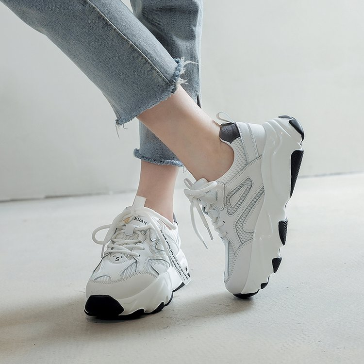 2020 Spring Autumn Women Casual Shoes V Fashion Platform Woman Chunky Sneakers Ladies Sports White Tenis Feminino Size 34-43