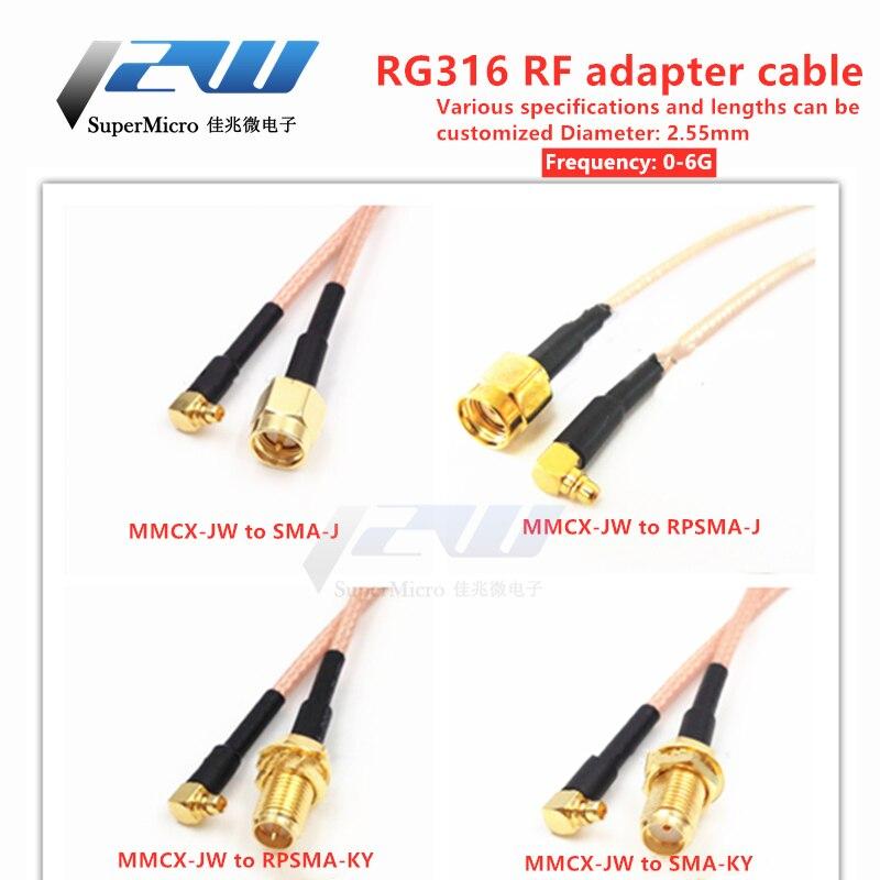 MMCX-J curvado macho a SMA-K-J fêmea macho rg316 linha sma para mmcx cabo de extensão