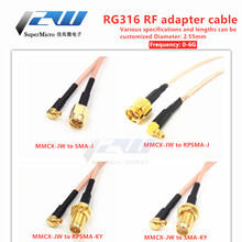 MMCX-J curved male to SMA-K-J female male RG316 line sma to mmcx extension cable