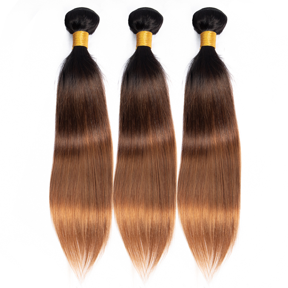 BEAUTY GRACE T1b/4/30 Straight Hair Bundle Blonde Ombre Human Hair Bundles Non-remy Hair Extensions Brazilian Hair Weave Bundles