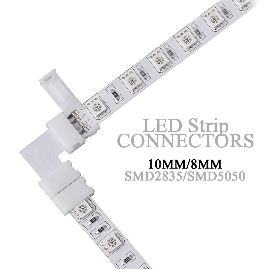 Led Connector L Shape 8Mm 10Mm 2Pin 4Pin Rgb Single Color 5050 2835 Led Strips Corner Angle Wire Connectors Install Adapter