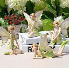 Hada de las flores estatuillas de ángeles, ornamento para el hogar, miniaturas de jardín, figuritas de resina, regalos recuerdos de boda, 1/4 Uds.