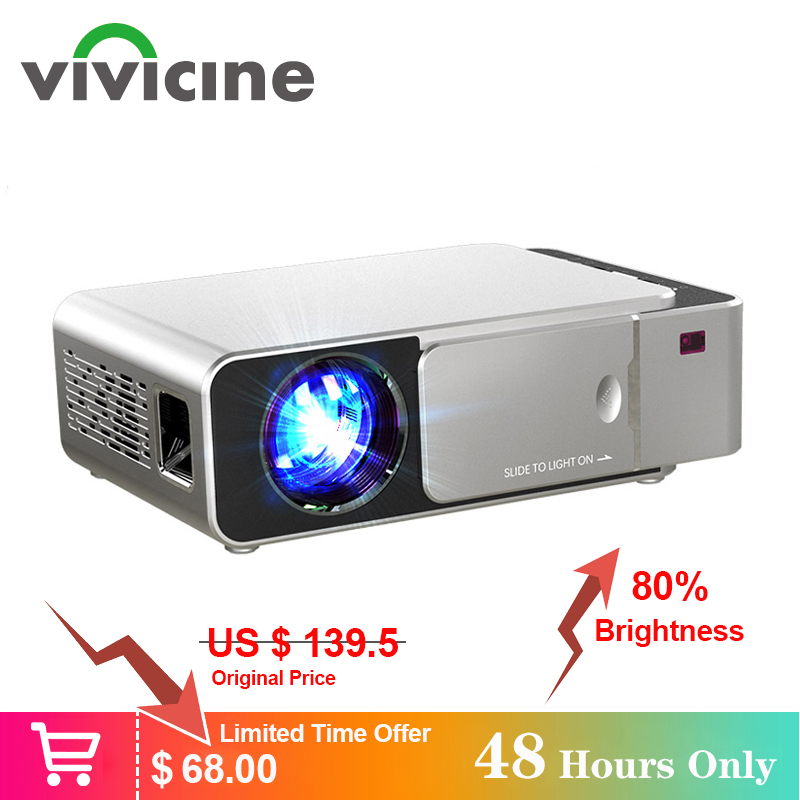 Recentes V20 VIVICINE Mini Projetor LED, Opcional Android 7.1 Bluetooth, apoio 4K Wifi HDMI USB LCD Home Theater Beamer