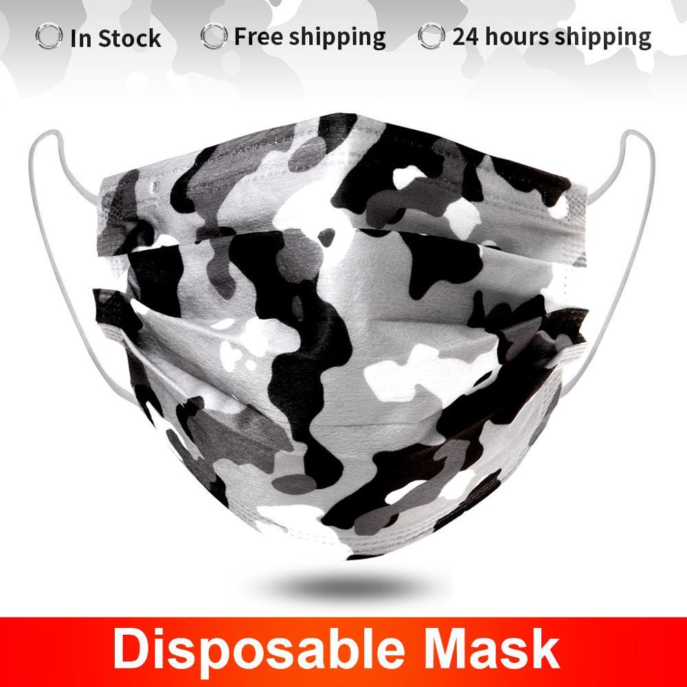 10-200 pces camuflagem máscara protetora descartável filtro de 3 camadas não-tecido respirável adulto máscara de boca protetora mondmasker mascarillas