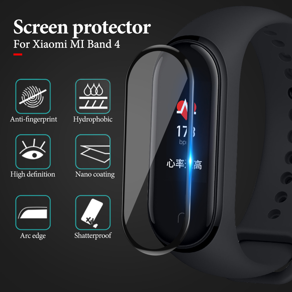 Full Curved Soft Tempered Glass For Xiaomi Mi Band 4 Explosion-Proof Screen Protector For Mi Band 4 3D Protective Safety Film