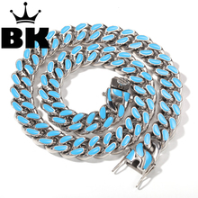 14mm 316L Stainless Steel Curb Colorful Cuban Link Chain Hip Hop Punk Heavy Gold silver color Plated Cuban Necklace