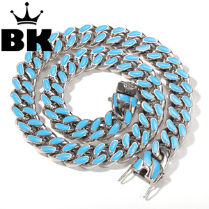 Image 1 - 14mm 316L Stainless Steel Curb Colorful Cuban Link Chain Hip Hop Punk Heavy Gold silver color Plated Cuban Necklace