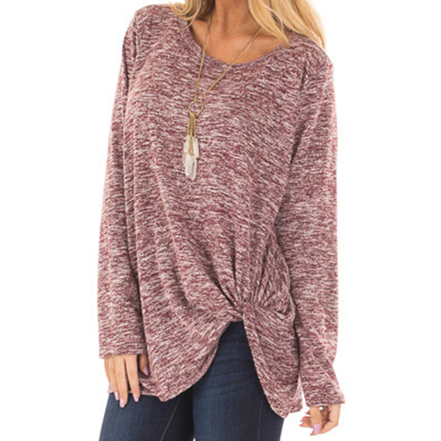 2020 New Spring Women's Long Sleeve Crewneck Pullovers Solid Color Casual Tunics Tops Blouses Twisted for Winter 10