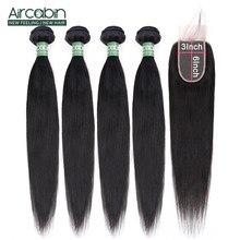 Aircabin Gerade Haar Bundles Mit 2x6 Spitze Verschluss Brasilianische Remy Menschliches Haar Natürliche Farbe Verschluss Mit Bundles Haar erweiterung