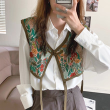 Sannian Women Shirt Retro Ethnic Embroidery Lace-up Vest+simple Lapel Single-breasted Long-sleeved White Shirt Women Clothes Top(China)