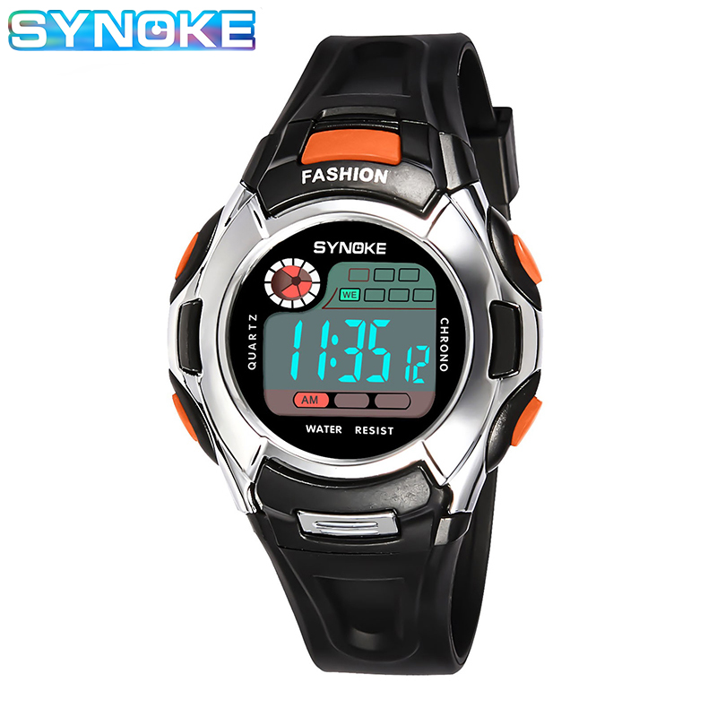 SYNOKE 2019 New Sport LED Digital Watch For Kids Boys Girls Waterproof Alarm Clock Wrist Watch Children Gifts Dropshipping