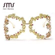 2020 ponadgabarytowe punkowe okulary przeciwsłoneczne damskie luksusowe metalowy kwiat modne okulary przeciwsłoneczne męskie barokowe perły okulary przeciwsłoneczne UV400 óculos Feminino