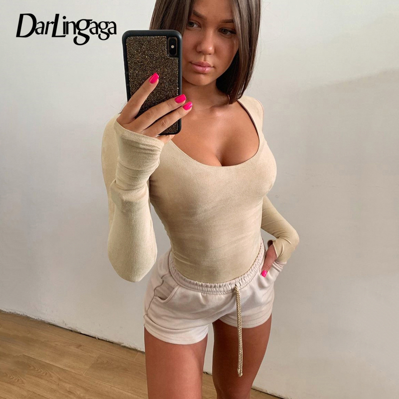 Darlingaga Crew Neck Suede Bodysuit Women Fitness Long Sleeve Solid Body Suit Fashion Basic Sheer Bodysuits Bodycon Jumpsuit New