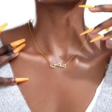 V למשוך תכשיטים מותאמים אישית שם שרשרת אישית ערבית גברים נשים Boho קולר מכתב Bijoux מתנת חג מולד רוז זהב קולייר