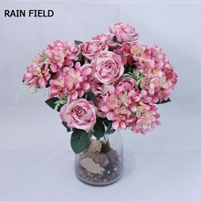 7 Heads Artificial Flowers Diamond Rose Real Touch Para Decora Bouquet For Family Gifts Wedding Decoration