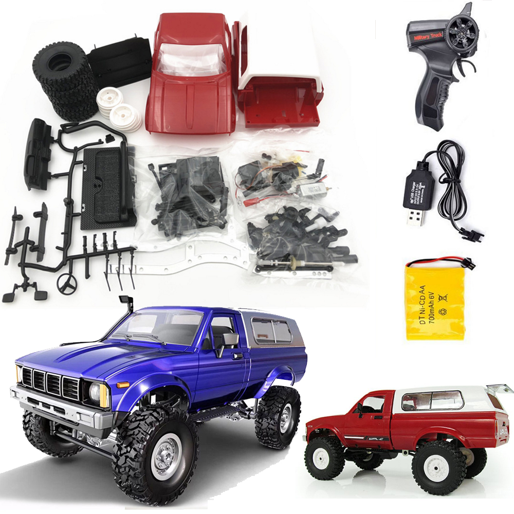 Hot <font><b>WPL</b></font> <font><b>C24</b></font> 2.4G Remote Control Off-road Model Car RC Buggy DIY High Speed Crawler Truck Toys Upgrade 4WD Metal KIT Part Chasis image