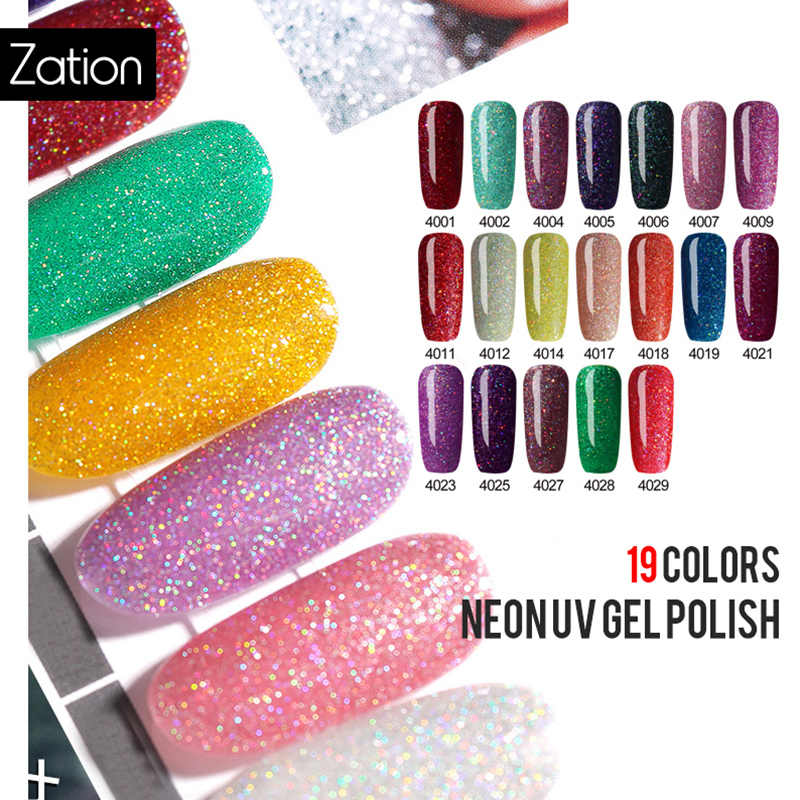 Zation 5ml Glitter Neon Soak Off UV GEL Holographic 19 สีกาวทาเล็บเจลเล็บ Lacquer