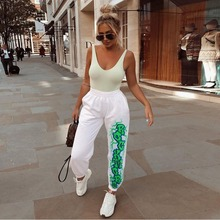 New Autumn Personality Letter Print Cool Ladies Hip Hop Casual Trousers Women High Waist Ha