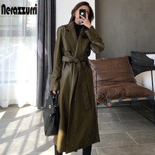 Nerazzurri outono longo oversized couro trench coat para as mulheres 2020 manga longa faixas soltas casacos de couro falso moda feminina