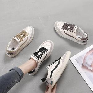 Image 5 - 3 kolory kobiety buty w stylu casual wygodne złota czarne trampki koronka Up skórzane mieszkania buty