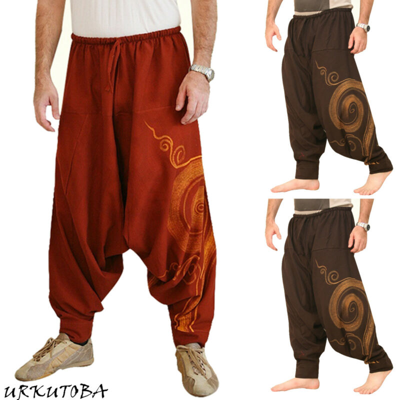Fashion Hot Sale Mens Hip Hop Baggy Harem Pants Yoga Festival Hippie Boho Alibaba Harem Desert Plus Size Wide Trousers