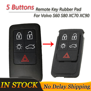 5 Buttons For Volvo S60 S80 XC70 XC90 Remote Key FOB Silicone Pad Black Rubber Mat Case Replacement Parts(China)