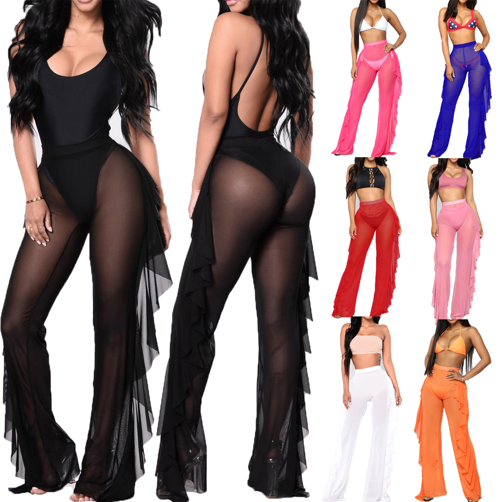 Sexy Women Bikini Cover Up Mesh Flare Pants See-through Chiffon Ruffle Bottoms Plus Loose Trousers Beachwear Swimwear