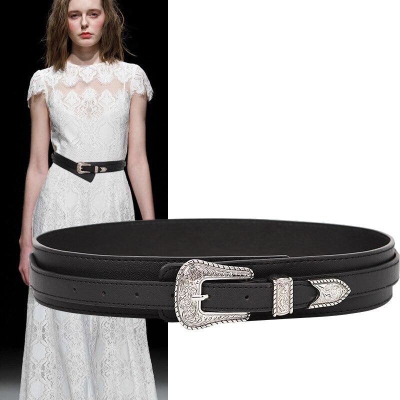New Ladies Belt Black PU Leather Belts For Women Fashion Waistband Vintage Silver Big Carved Buckle Strap Belt For Dresses Jeans