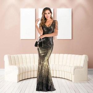 Image 4 - YIDINGZS Con Scollo A V Paillettes Oro Vestito Da Promenade Delle Donne Perline Elegante Lungo Del Partito di Sera del Vestito YD16180