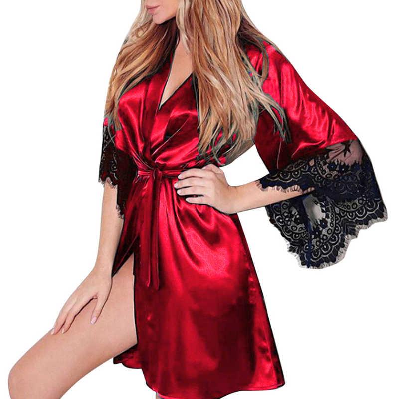 2020 Mới Plus Size Nữ Night Áo Dây Nữ Trong Suốt Kimono Thân Mật Đồ Ngủ Phối Ren Thời Trang Miếng Dán Cường Lực Áo Dây 3XL
