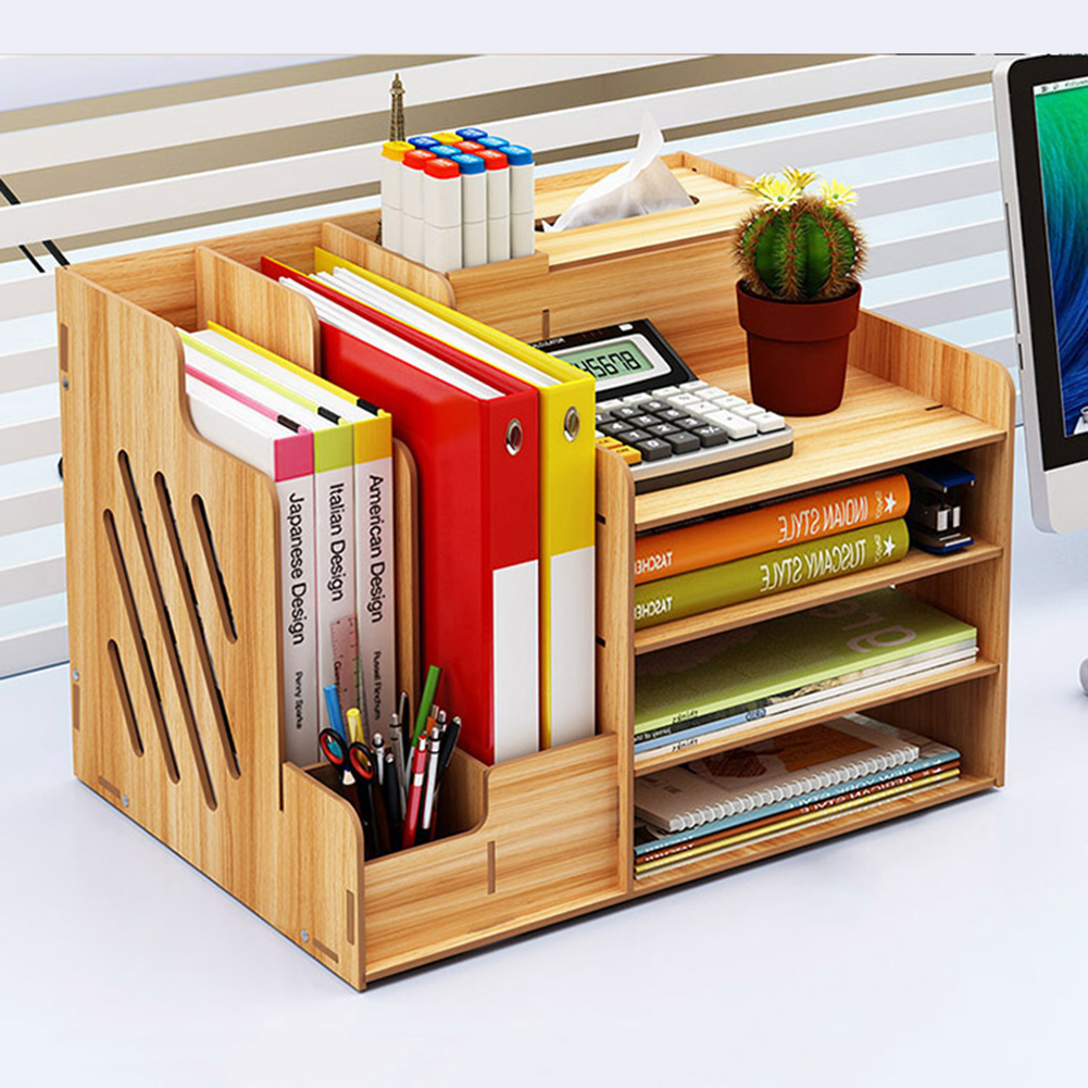 Wood Desktop Stand Holder Pencil Pen Office Home Organizer Multi-function Cosmetic Brush Storage Box ForJewelry Display Rack Hot